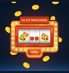 armed bandit game machine in casino with vector image