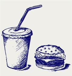 Big hamburger and soda vector image vector image