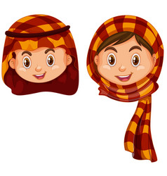 boy and girl in arab costume vector image vector image