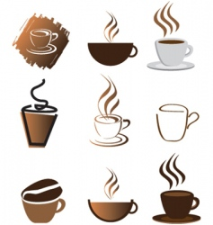 coffee icons silhouette brown vector image vector image