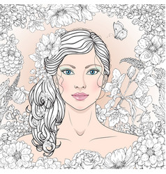 girl with flowers outline vector image