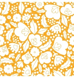 Gold and white floral silhouettes seamless pattern vector image