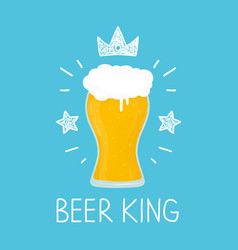 king glass of beer cartoon flat and vector image