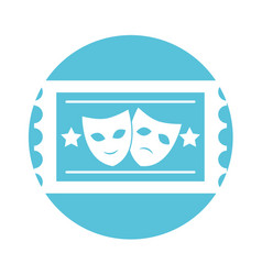 postal seal with theater masks isolated icon vector image vector image