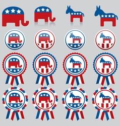 republican and democrat badges vector image