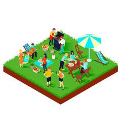bbq picnic isometric vector image