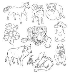 bull dog dragon horse monkey rabbit sheep vector image
