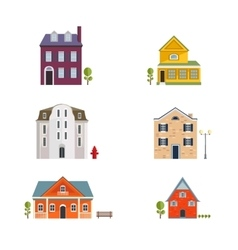 Colorful Flat Residential Houses Flat House Icons vector image vector image