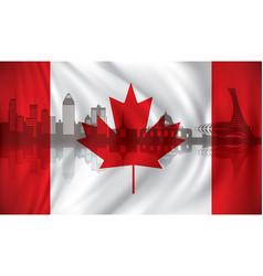 flag of canada with montreal skyline vector image
