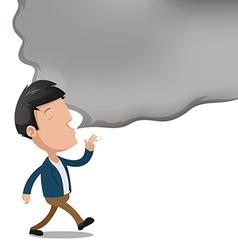 Man Smoke Empty Text Cartoon vector image vector image