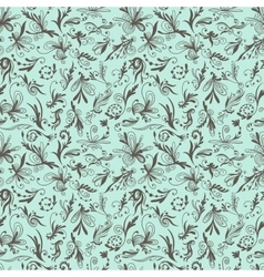 Mint and Brown Vintage Swirl Pattern vector image vector image