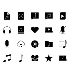 music audio silhouette icons set pictograms vector image vector image