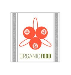 organic food logo badge label for healthy vector image