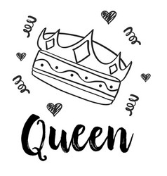 queen crown doodle style collection vector image vector image