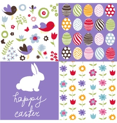 Set of cute seamless easter background patterns vector image