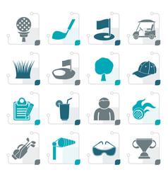 stylized golf and sport icons vector image vector image