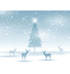 winter landscape with deer 2211 vector image