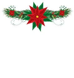 Christmas frame with pointsettia vector image