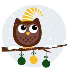 Cute retro owl sitting on the branch vector image vector image