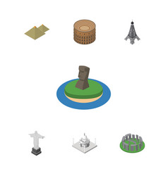isometric cities set of chile egypt coliseum and vector image