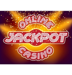 Jackpot casino neon font vector