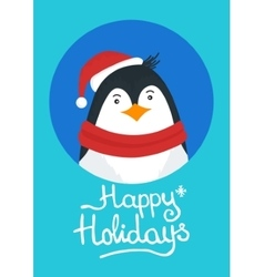 Merry Christmas card with penguin vector image
