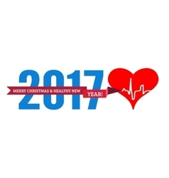 Congratulations to the healthy new year with a vector