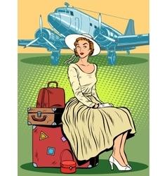 woman passenger airport baggage vector image