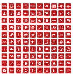 100 map icons set grunge red vector image