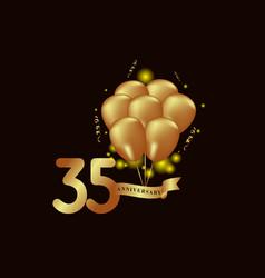 35 year anniversary gold balloon template design vector