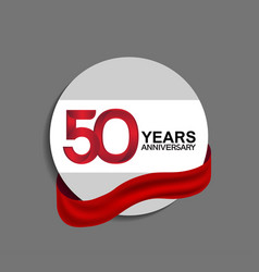 50 years anniversary design in circle red ribbon vector