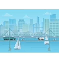 amazing bridge with trucks and cars on modern vector image