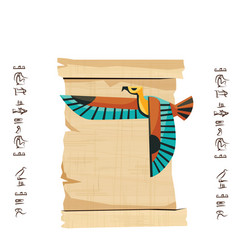 Ancient egypt papyrus scroll with flying bird vector