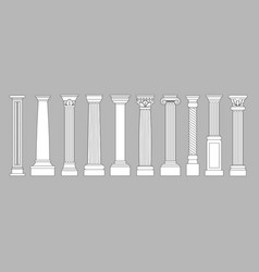 ancient pillars classic historical roman column vector image
