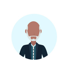 Asian old man beard mustache avatar isolated vector