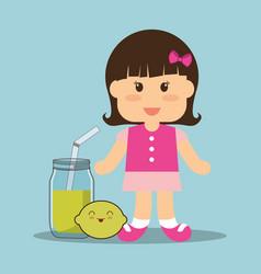 beauti girl glass jar juice and lemon vector image