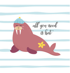 bright card with walrus in hat vector image