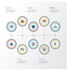 Business colorful outline icons set collection vector