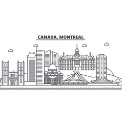 Canada montreal architecture line skyline vector
