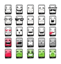 Cartoon Phones Emoticons vector