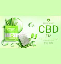 Cbd tea bag marijuanna package mock up banner vector