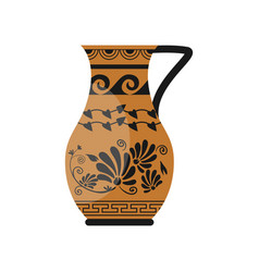 ceramic classic greek jug with flower wave vector image