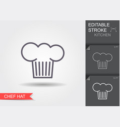 chef hat line icon with editable stroke vector image