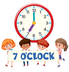 children and clock on white bankground vector image
