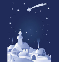 christmas village winter laqndscape vector image