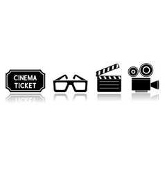 cinema set movie icons vector image