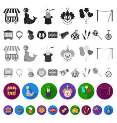 circus and attributes flat icons in set collection vector image