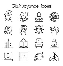 clairvoyance fortune teller icon set in thin line vector image