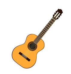 Classic yellow guitar vector