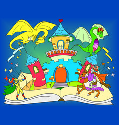 color fairy open book tale concept kids vector image